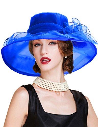 Dafunna Organza Hat Women Derby Hat Summer Sun Hat with Large Wide Brim Retro Flower for Beach Church Wedding Tea Party Vacation