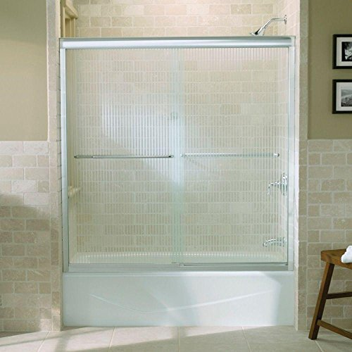 Kohler R702200-G54-SHP Fluence Frameless Bypass Shower Door with Falling Lines Glass, Bright Polished Silver