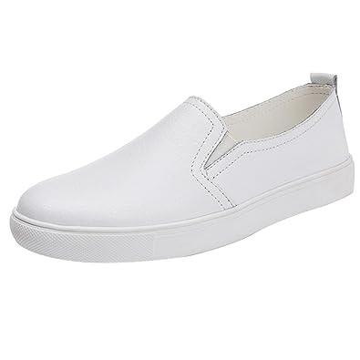 Zapatillas de Cuero para Mujer Otoño 2018 PAOLIAN Zapatos de Plano Blancas Dama Casual Mocasina Talla Grande Cómodo Calzado de Trabajo Moda Señora Suela ...
