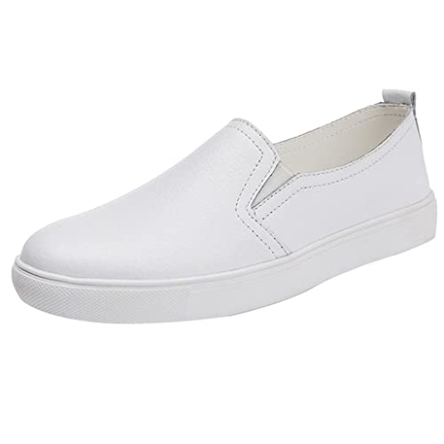 66bac722 Zapatillas de Cuero para Mujer Otoño 2018 PAOLIAN Zapatos de Plano Blancas  Dama Casual Mocasina Talla Grande Cómodo Calzado de Trabajo Moda Señora  Suela ...