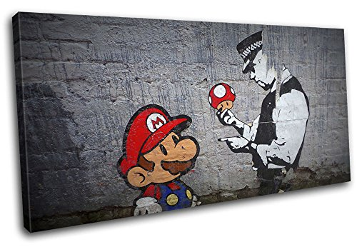 Bold Bloc Design - Graffiti Pop Mario Banksy Street 120x60cm SINGLE Canvas Art Print Box Framed Picture Wall Hanging - Hand Made In The UK - Framed And Ready To Hang by Bold Bloc Design
