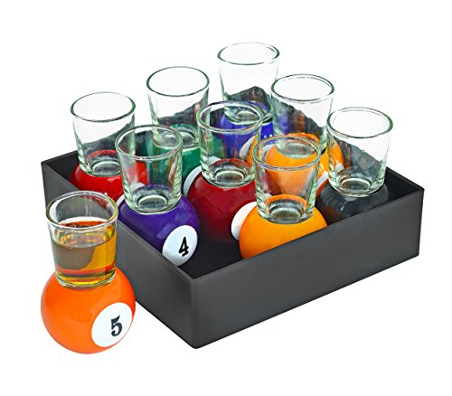 - Fairly Odd Novelties Billiards Pool Ball Shot Glass Set 9 Pieces Removable Glasses