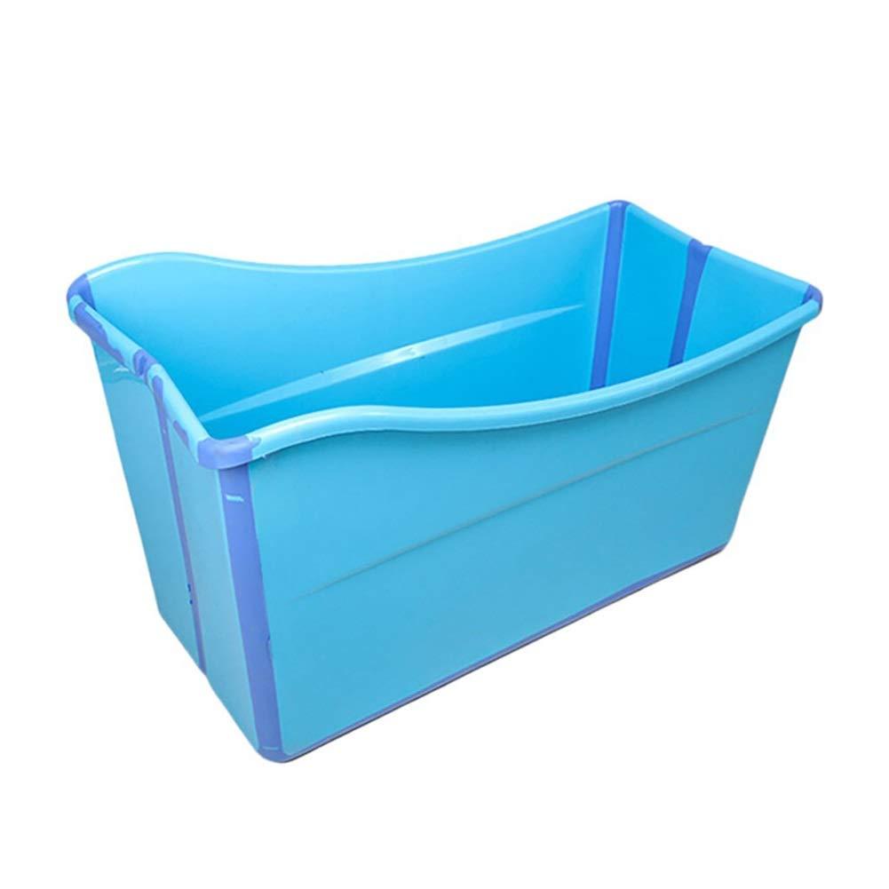 Bathtub CYLQ Folding Adult Folding Bathtub Large Size Insulated Bath Tub for Children,Portable Thicken Plastic Baby Kids Home Girls Boy Bathing Bath Barrel Pink/Blue 11752.563cm (Color : Blue) by Bathtub CYLQ
