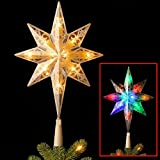 National Tree 11 Inch Bethlehem Star Tree Topper with 10 Battery Operated Dual Color LED Lights with 9 Functions (TA21-11L-B1)