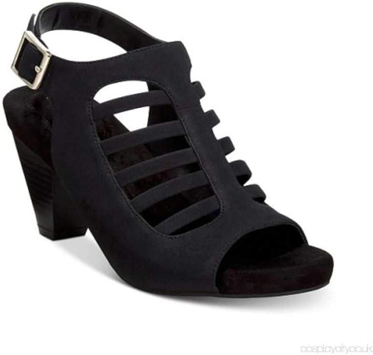 Black Giani Bernini Womens Caliegh Open Toe Casual Slingback Sandals Size 6.5
