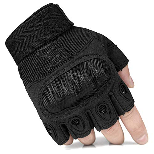 G11-Black,S Half Finger//Fingerless Motorcycle Gloves Armored Genuine Goatskin Leather With Perforated Hole For Men