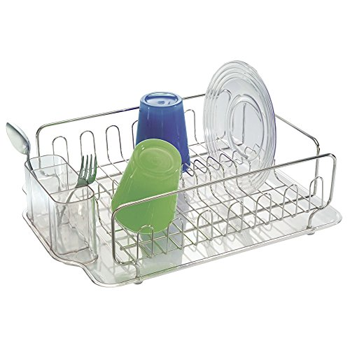 - mDesign Large Modern Metal Wire Kitchen Dish Drainer Drying Rack with Plastic Cutlery Caddy and Drainboard for Sink or Countertop - Polished Stainless Steel/Clear
