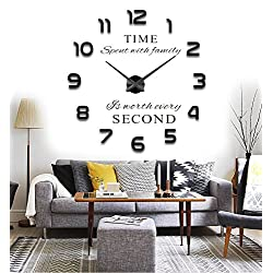 Reliable_E Large Inspirational Quotes Wall Sticker DIY 3D Wall Clock for Home Decor
