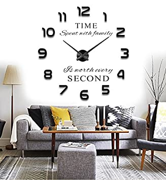 Reliable_E® 3D Large Inspirational Quotes Wall Sticker DIY Wall Clock For Home  Decor (black