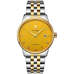 TEVISE Men's Fashion Dress Automatic Watch Thin Golden Dial Golden and Silver Band