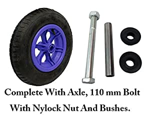 """LILAC SPOKED + AXLE 4 PLY wheelbarrow / Trolley Wheel Pneumatic 14"""" Tyre 4.80/4.00-8"""