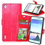 Ascend P7 Case + Free Charger Cable, TOMYOU PU Flip Leather Wallet, Stand and Card Holder for Huawei Ascend P7 (Red)