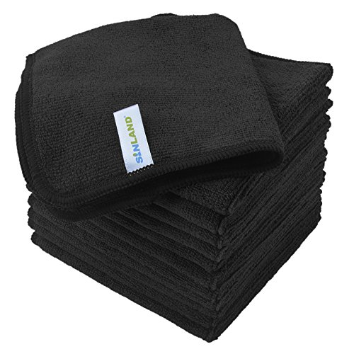 Sinland Microfiber Cleaning Cloth Absorbent Dish Cloth Kitchen Streak Free Dish Rags Glass Cleaning Cloths 12inchx12inch 12 Pack Black