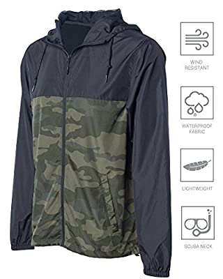 Global Men's Hooded Lightweight Windbreaker Winter Jacket Water Resistant Shell