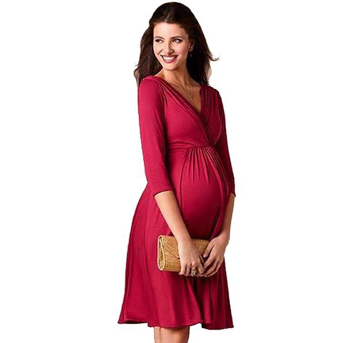 Binhee Desgaste De Maternidad para Mujer Estire Vestidos De Fiesta Puros del Color del Embarazo
