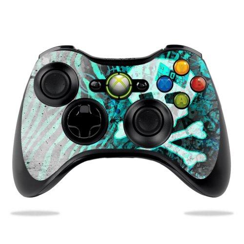 Protective Vinyl Skin Decal Cover for Microsoft Xbox 360 Controller wrap sticker skins Zebra Skull
