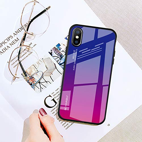 Maxlight Gradient Tempered Glass Glitter for iPhone Xs MAX XR Plus X 10 Phone Cover Housing Case for iPhone 7 8 Plus Pattern Back Capa (D, for iPhone XR)