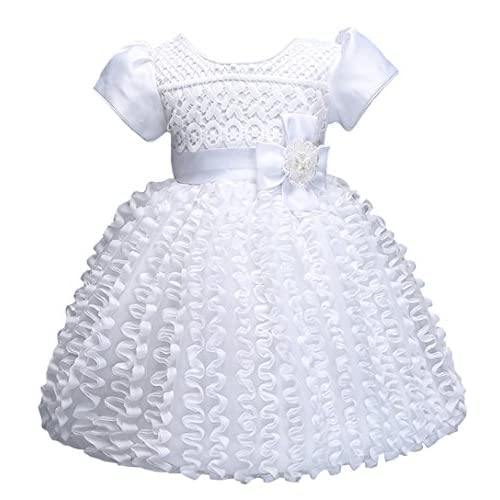 d28c36f528146b Eiffel Direct Baby Girls Embroidered Floral Bowknot White Princess Party  Dress