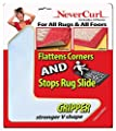 """Grips the Rug with NeverCurl Includes 4""""V"""" Shape Corners - Patent Pending. Instantly Flattens Rug Corners AND Stops Rug Slipping. Gripper uses Renewable Sticky Gel. By NeverCurl (4 Corners)"""