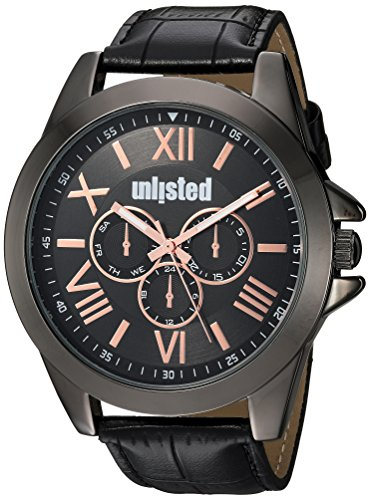 Kenneth Cole Unlisted Male ' 'Dress Sport' Japanese-Quartz Watch with Black Strap, Synthetic Leather, 24 (Model: 10030895)