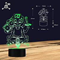 Luz Nocturna 3D,Tatuaje Dj Música Esqueleto Micrófono Silueta ...