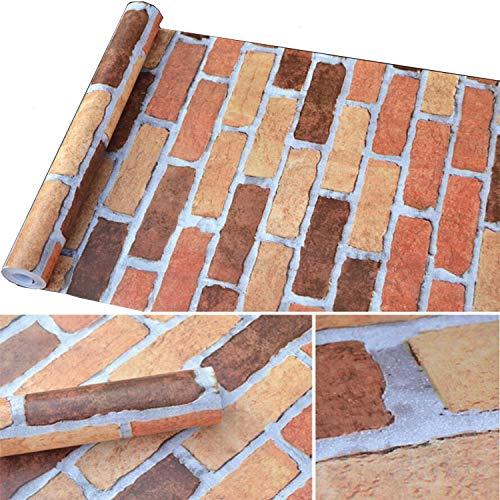 (3D Brick Wallpaper Self-Adhesive Moscow Brick Stone PVC Wallpaper Removable Wall Mural Vinyl Peel and Stick Shelf Paper for Wall Bathroom Kitchen Backsplash (17.7