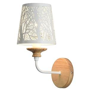 E14 aplique de pared tallado moderno/lámpara de pared de brazo corto de madera/lámpara de noche de metal/accesorio de iluminación del pasillo de la cabecera del dormitorio
