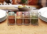 Circleware 67195 5 pc Set 4oz Mini Optic Hermetic Spice Jar in Metal Caddy Home and Kitchen Utensils