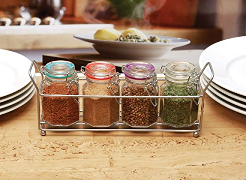 Circleware 67195 5 pc Set 4oz Mini Optic Hermetic Spice Jar in Metal Caddy Home and Kitchen Utensils