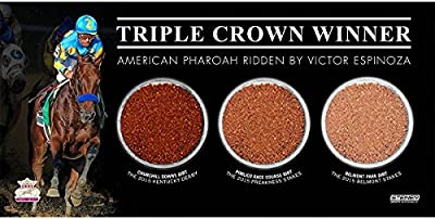 American Pharoah Triple Crown 4x8 Plaque w/Kentucky Derby Preakness Stakes & Belmont Stakes Triple Dirt Capsule