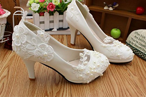 Party And Wedding Women's Banquet amp; Flowers Bridesmaid Height Spring Handmade Shoes Heel Pearl Bride Lace Si 5cm 4 Summer Customize wE6X5qq