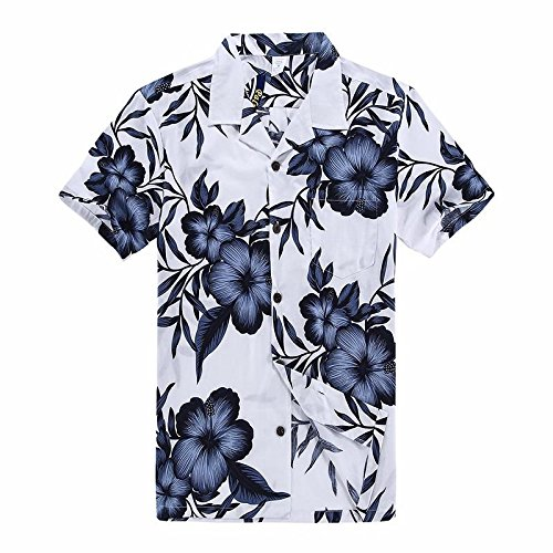 Navy Aloha Hawaiian Shirt - Palm Wave Men's Hawaiian Shirt Aloha Shirt XL White with Navy Floral