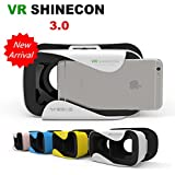VR Shinecon New 3.0 - Virtual Reality 3D Glasses VR Box for 4.7 to 6 Inch Smart Phones (Android/iOS/Windows) - White