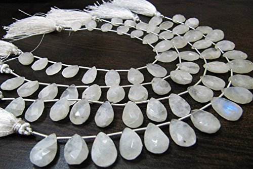 Natural Genuine White Rainbow Moonstone Pear Shape Briolette Beads, Size 10x13 to 11x16mm Moonstone Heart Shape Beads,Strand 8 Inches - Briolette Beads Pear Gemstone