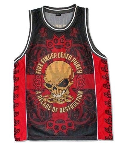 Five Finger Death Punch Bonehead Red Basketball Jersey Shirt (XL)