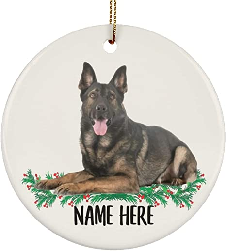 Lovesout Personalized Name Sable German Shepherd Christmas Tree Ornament Circle Ceramic Home Kitchen