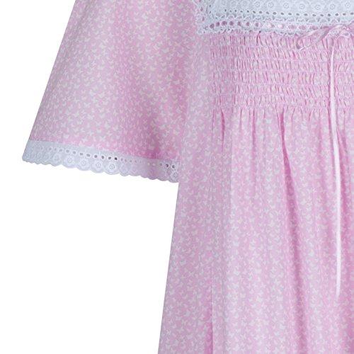 The 1 for U 100% Baumwolle Nachthemd kurzärmelig - Evelyn - Rosa Schmetterling, Medium
