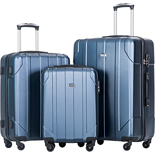 Merax 3 Piece P.E.T Luggage Set Eco-friendly Light Weight Travel Suitcase (Blue)