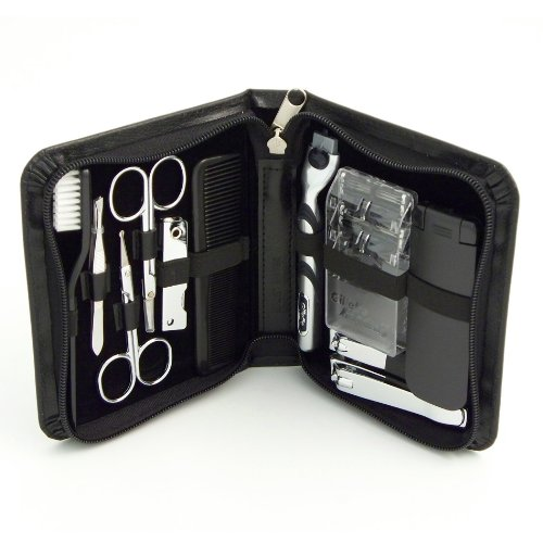Bey Berk 11 Piece Travel Manicure / Shave Set in Black Leather Case