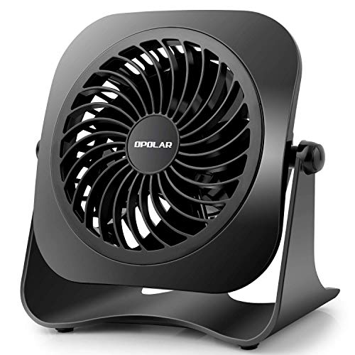 OPOLAR 4 Inch Mini USB Desk Fan, 2 Speeds, Lower Noise, USB Powered, 360° Up and Down, 3.8 ft Cable, Powerful Black Fan for Home and Office (Renewed)