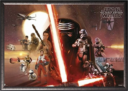Framed Star Wars The Force Awakens Movie Poster Horizontal in Silver Finish Wood Frame