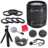 Canon EF-S 18–55mm f/3.5–5.6 IS STM Lens Bundle with 58mm 3 Piece Filter Kit for Canon EOS Rebel T5, T5i, SL1, T6, T6i, T6s, 70D, 80D Digital SLR Cameras - International Version (No Warranty)