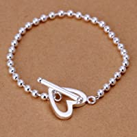 New Women 925 Sterling Silver Plated 5MM Heart Bead Charm Chain Bracelet Bangle