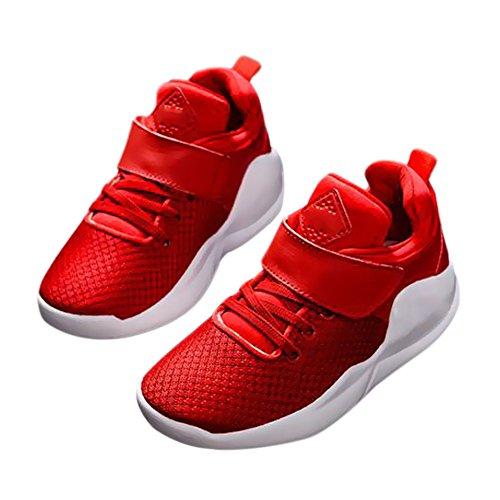 Haodasi Kinder Kids Mädchen Jungen Mesh Oberfläche Breathable Schuhe Laufen Sport Turnschuhe Red