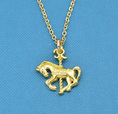 Carousel Horse Necklace. Carousel horse charm. Carousel horse charm pendant in gold toned metal. Carousel horse. - Carousel Necklace