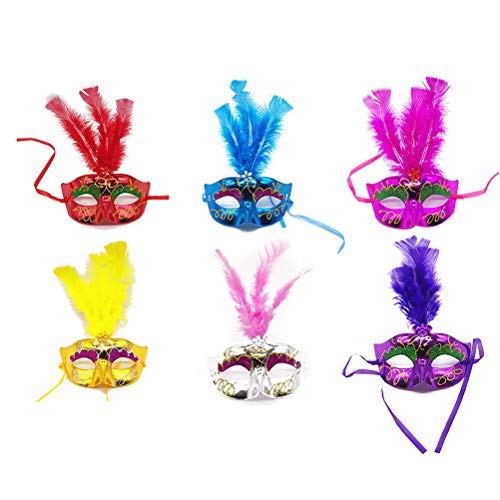 STOBOK 12pcs Feather Mask Birthday Party Favors Dress Up Costume Gift for Kids Children Toddlers Ramdom Color