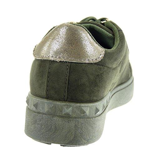 Doré Mode Basket Talon Cm Vert Plat Femme Chaussure Angkorly Compensée 2 Clouté Perle 5 Basse E8Fzw
