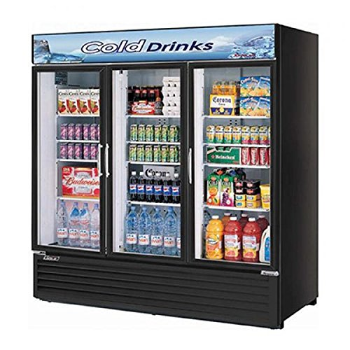 (Turbo Air TGM-72RSB Glass Swing Door Three Section Merchandiser Refrigerator)