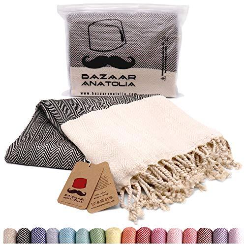 Bazaar Anatolia Herringbone Turkish Towel 100% Cotton Peshtemal Bath Towel 74x35 Thin Lightweight Travel Camping Bath Sauna Beach Gym Pool Blanket Fouta Quick Dry Towels (Black)