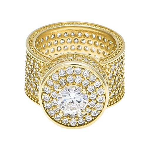 HongBoom Hot Hip Hop Rings 18K Gold Plated CZ CRYSTAL Fully Iced-Out Camera Ring (Gold/US size 9)